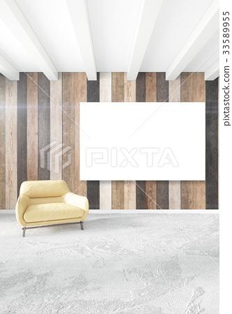 Minimal Bedroom Interior Design Wood Wall Yellow Stock Illustration 33589955 Pixta