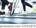 젊은 여성, 체육관, 피트니스 러닝 33591879