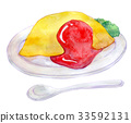 Watercolor illustration food omelet rice 33592131