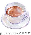 수채화 일러스트 식품 커피 33592192