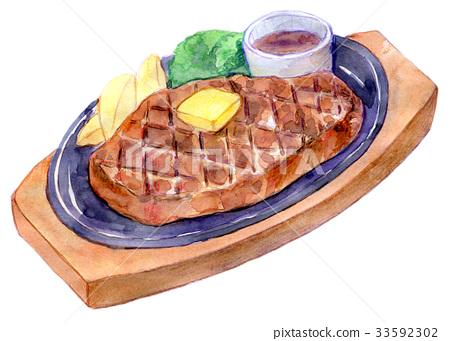 牛排 水彩畫 葷菜 33592302
