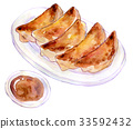 Watercolor illustration food dumpling 33592432
