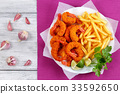 breaded Fried Shrimps, limes and french fries 33592650