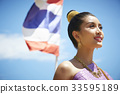 The portrait of Thai girl looking up the sky 33595189