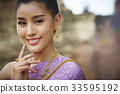 The portrait of Thai girl smiling and putting fingers near the face 33595192