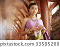 The portrait of Thai girl standing in hallway of the temple 33595200