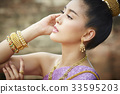 The portrait of Thai girl posing and looking at something 33595203
