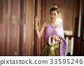 A portrait of Thai woman leaning at the door while holding the Thai ornament. 33595246