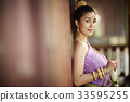 A portrait of a beautiful Thai woman leaning on the door while staring at camera. 33595255