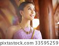 A Thai young woman is smiling under the sunlight. 33595259