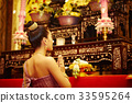A portrait of beautiful Thai woman genuflecting and praying in front of the altar. 33595264