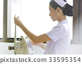 A young nurse is checking a saline bottle 33595354