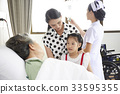 a woman and her daughter are visiting her mother in hospital 33595355