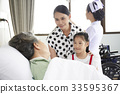 An elderly patient is visited by her relatives in hospital 33595367