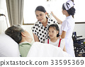 An elderly patient is talking to her daughter and granddaughter in hospital 33595369