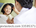 A kid patient is looking at a nurse and smiling 33595371