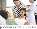 A little girl is talking to her grandmother in a hospital 33595372