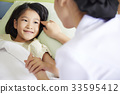 a nurse is taking care of a little girl patient 33595412