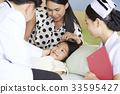 doctor and nurse are examining patient who is lying on bed with mother by her side 33595427