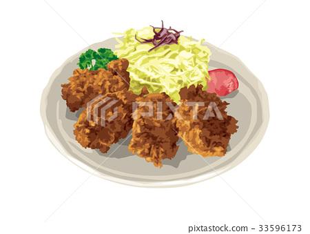 西餐 葷菜 油炸的 33596173