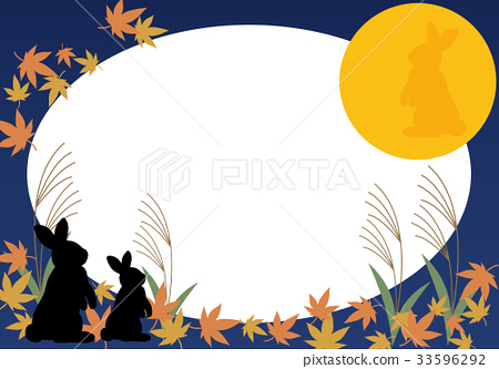 frame moon viewing night of the full moon stock illustration