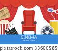 glasses, movie, popcorn 33600585