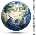 Earth - Asia white isolated 33600899