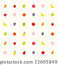 Seamless background pattern with various fruits 33605849