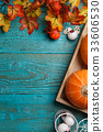 Space for text with pumpkin 33606530