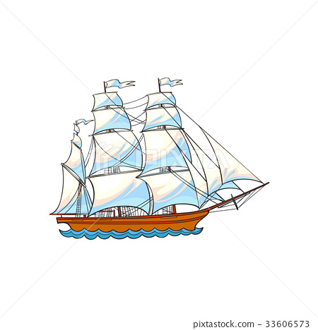 Beautiful sailing ship, sailboat with white sails 33606573