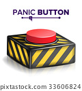 Panic Button Vector. Red Alarm Shiny Button Icon 33606824