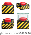 Red Panic Button Set Isolated Vector. Red Alarm 33606836