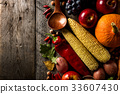 Different seasonal autumn vegetables and fruits 33607430