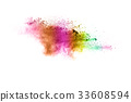 The explosion of color powder. 33608594