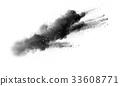 black powder cloud against white background. 33608771