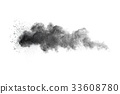 black powder cloud against white background. 33608780