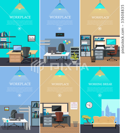 Set of Office Interior Web Banners in Flat Design 33608835