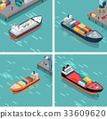 一組 卸貨 集裝箱船 33609620