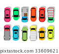 Multicolor Cars Isolated on White. City Parking 33609621