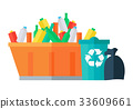 Containers for Garbage Vector in Flat Design.  33609661