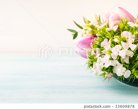 Flowers tulips roses spring pastel colors 33609878