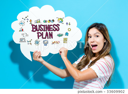 Business Plan text with young woman holding a 33609902