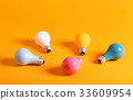 Colored light bulbs on a yellow background 33609954