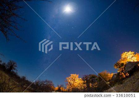 Starry sky, Milky Way arc and moon 33610051