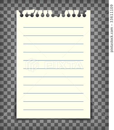 Blank lined note book page with torn edge 33611109