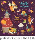 Set of cute autumn cartoon characters, plants and 33611336