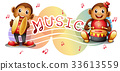 Two monkeys with music notes in background 33613559
