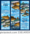 Vector banners of fish catch for sea food maket 33614959