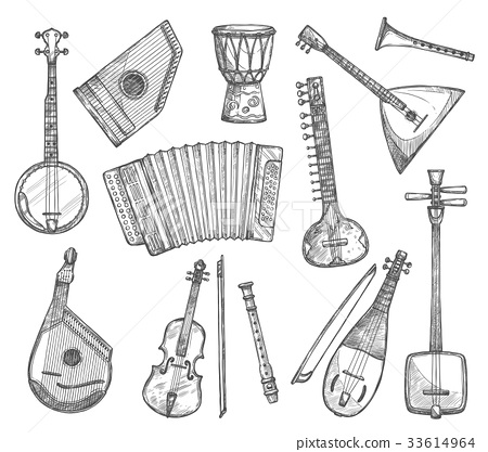Vector sketch icons of musical instruments 33614964