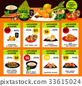 Vector menu of Japanese cuisine restaurant 33615024